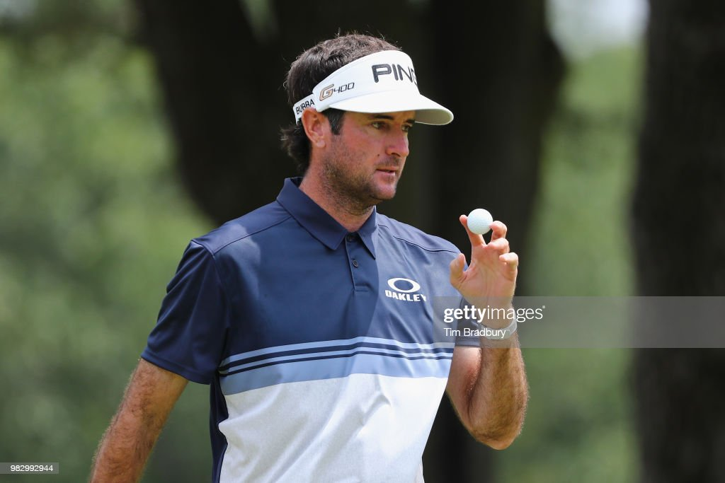 Bubba Watson of the United States acknowledges the gallery after making a par on the fourth green during the final round of the Travelers Championship at TPC River Highlands on June 24, 2018 in Cromwell, Connecticut.