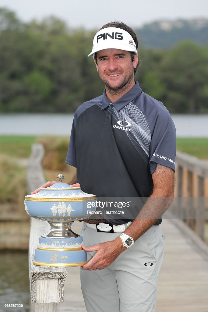 Bubba Watson of the United States celebrates with the Walter Hagen Cup after winning the World Golf Championships-Dell Match Play at Austin Country Club on March 25, 2018 in Austin, Texas.