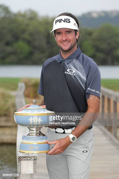 Bubba Watson of the United States celebrates with the Walter Hagen Cup after winning the World Golf ChampionshipsDell Match Play at Austin Country...