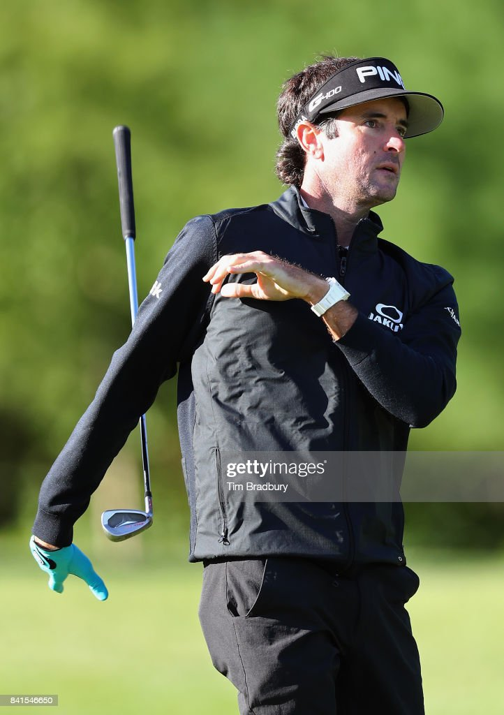 Bubba Watson of the United States drops his club as he plays a shot on the tenth hole during round one of the Dell Technologies Championship at TPC Boston on September 1, 2017 in Norton, Massachusetts.
