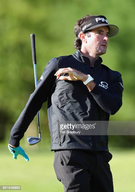 Bubba Watson of the United States drops his club as he plays a shot on the tenth hole during round one of the Dell Technologies Championship at TPC...