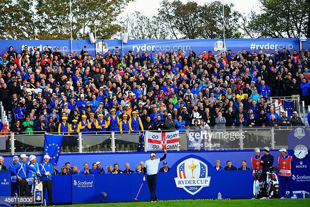 Bubba Watson of the United States encourages the crowd on the 1st tee during the Morning Fourballs of the 2014 Ryder Cup on the PGA Centenary course...