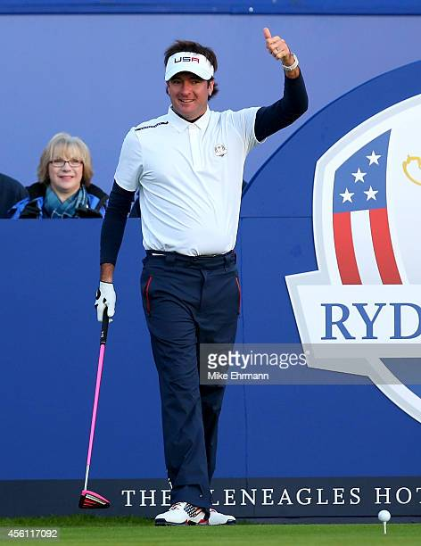 Bubba Watson of the United States gives the thumbs up on the 1st tee during the Morning Fourballs of the 2014 Ryder Cup on the PGA Centenary course...