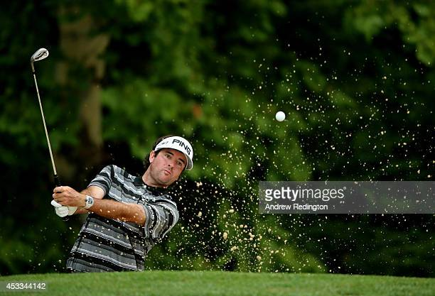 Bubba Watson of the United States hits a shot from a bunker on the third hole during the second round of the 96th PGA Championship at Valhalla Golf...