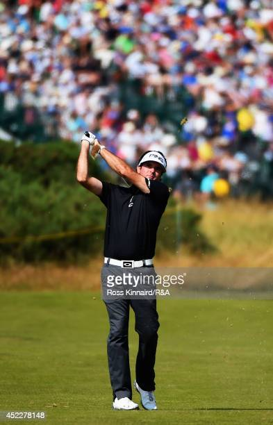 Bubba Watson of the United States hits his second shot on the eighth hole during the first round of The 143rd Open Championship at Royal Liverpool on...