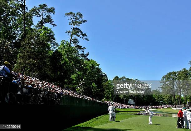 Bubba Watson of the United States hits his tee shot on the 16th hole during the second round of the 2012 Masters Tournament at Augusta National Golf...