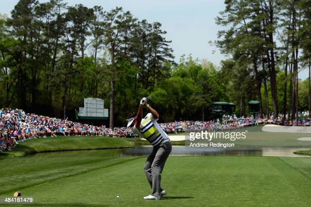 Bubba Watson of the United States hits his tee shot on the 16th hole during the second round of the 2014 Masters Tournament at Augusta National Golf...
