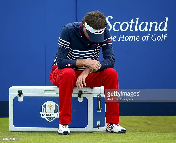 Bubba Watson of the United States looks dejected on the 14th tee during the Singles Matches of the 2014 Ryder Cup on the PGA Centenary course at the...