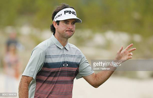 Bubba Watson of the United States makes birdie on the tenth hole during the final round of the Hero World Challenge at Albany The Bahamas on December...