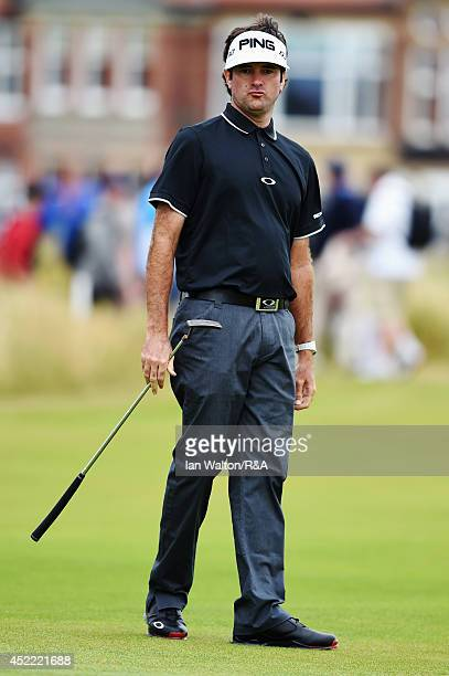 Bubba Watson of the United States on a putting green during a practice round prior to the start of the 143rd Open Championship at Royal Liverpool on...