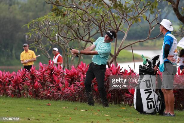 Bubba Watson of the United States plays a shot during the first round of the Shenzhen International at Genzon Golf Club on April 20 2017 in Shenzhen...