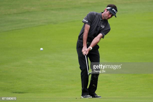Bubba Watson of the United States plays a shot during the second round of the Shenzhen International at Genzon Golf Club on April 22 2017 in Shenzhen...