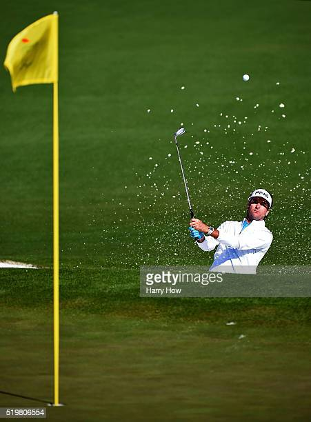 Bubba Watson of the United States plays a shot from a bunker on the second hole during the second round of the 2016 Masters Tournament at Augusta...