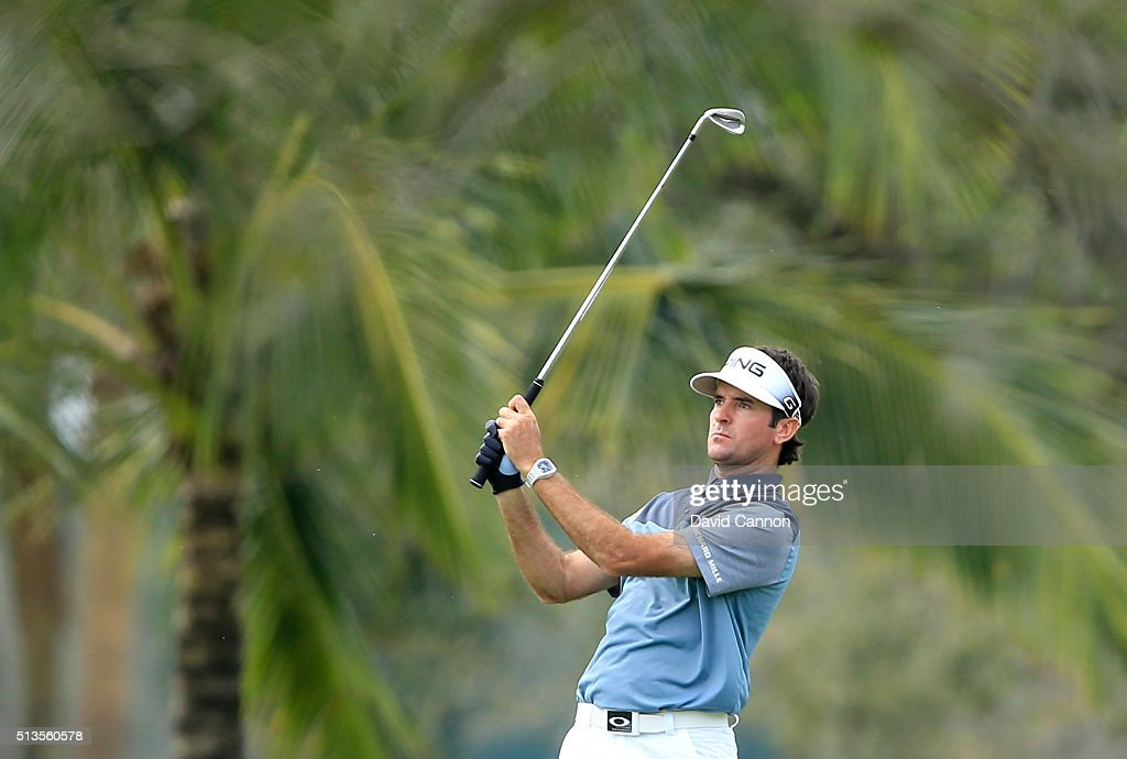 Bubba Watson of the United States plays his second shot at the par 4, sixth hole during the first round of the 2016 World Golf Championship Cadillac Championship on the Blue Monster Course at the Trump National Resort on March 3, 2016 in Doral, Florida.