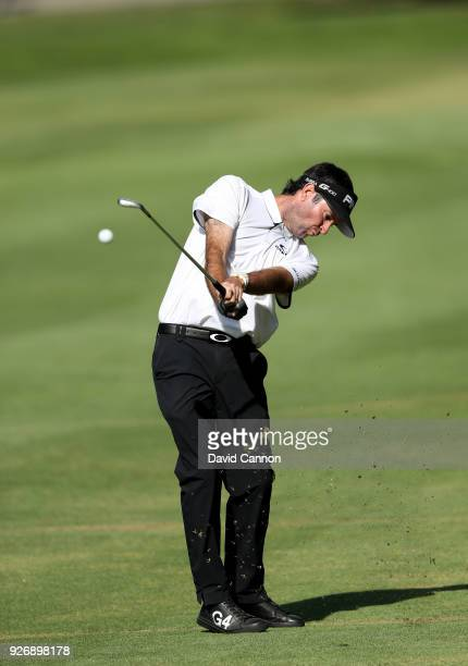 Bubba Watson of the United States plays his second shot on the 16th hole during the third round of the World Golf ChampionshipsMexico Championship at...