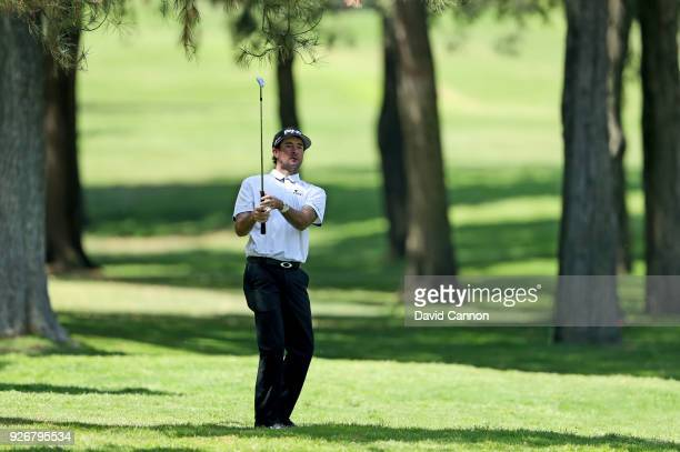 Bubba Watson of the United States plays his second shot on the par 4 second hole during the third round of the World Golf ChampionshipsMexico...