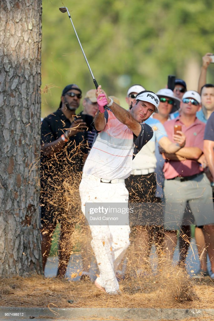 Bubba Watson of the United States plays his second shot on the par 4, 18th hole during the second round of the THE PLAYERS Championship on the Stadium Course at TPC Sawgrass on May 11, 2018 in Ponte Vedra Beach, Florida.