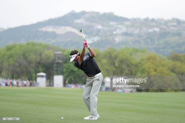 Bubba Watson of the United States plays his second shot on the sixth hole during his final round match against Kevin Kisner of the United States in...