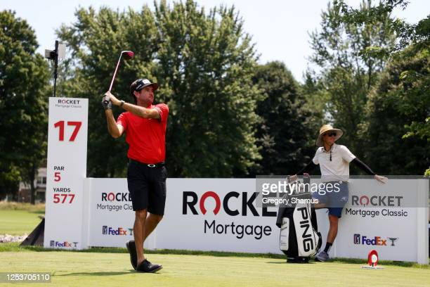 Bubba Watson of the United States plays his shot from the 17th tee during the Changing the Course initiative nine hole charity match prior to the...
