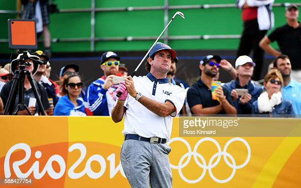 Bubba Watson of the United States plays his shot from the 17th tee during the first round of men's golf on Day 6 of the Rio 2016 Olympics at the...