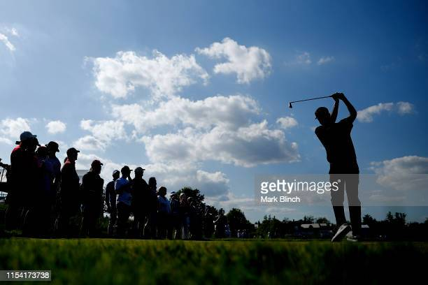 Bubba Watson of the United States plays his shot from the 18th tee during the first round of the RBC Canadian Open at Hamilton Golf and Country Club...