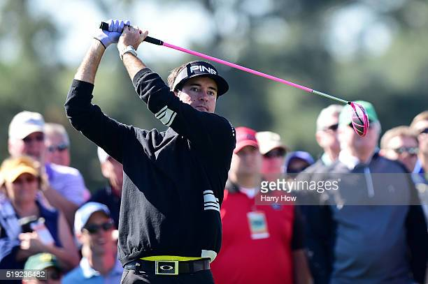 Bubba Watson of the United States plays his shot from the eighth tee during a practice round prior to the start of the 2016 Masters Tournament at...