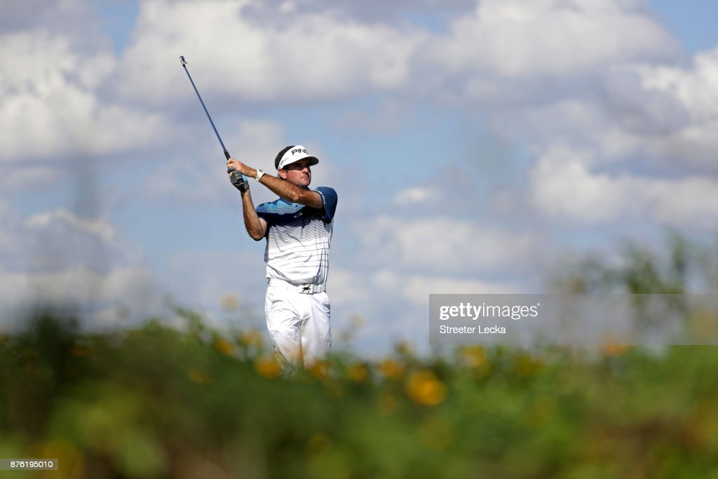 Bubba Watson of the United States plays his shot from the eighth tee during the third round of The RSM Classic at Sea Island Golf Club Seaside Course on November 18, 2017 in St Simons Island, Georgia.