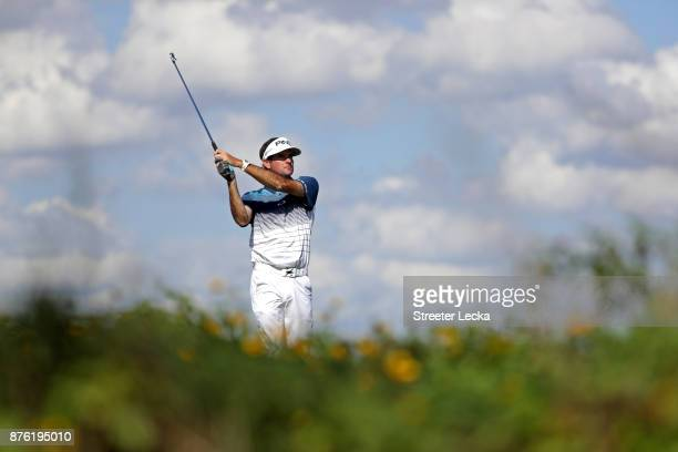 Bubba Watson of the United States plays his shot from the eighth tee during the third round of The RSM Classic at Sea Island Golf Club Seaside Course...