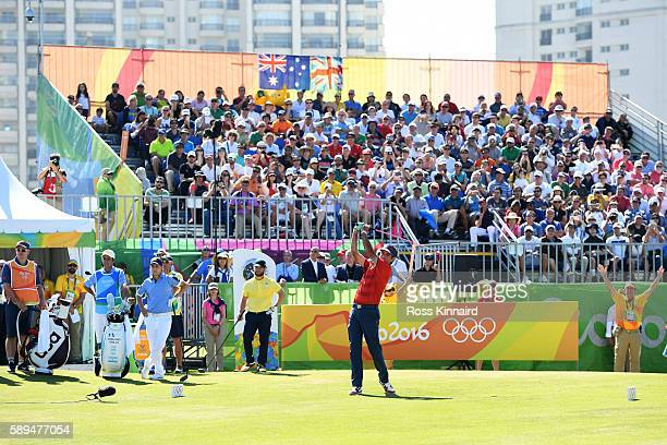 Bubba Watson of the United States plays his shot from the first tee during the final round of golf on Day 9 of the Rio 2016 Olympic Games at the...