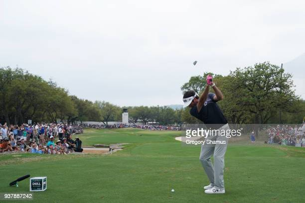 Bubba Watson of the United States plays his shot from the seventh tee during his final round match against Kevin Kisner of the United States in the...
