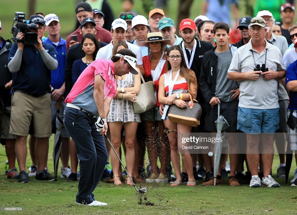 Bubba Watson of the United States plays his shot on the second hole during the final round of the World Golf Championships-Cadillac Championship at Trump National Doral Blue Monster Course on March 8, 2015 in Doral, Florida.
