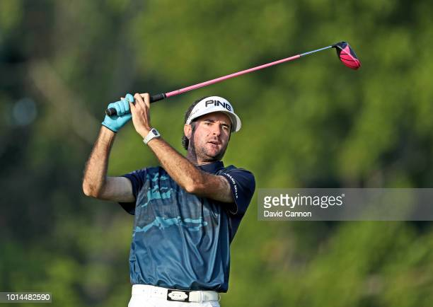 Bubba Watson of the United States plays his tee shot on the 12th hole during the second round of the 100th PGA Championship at the Bellerive Country...
