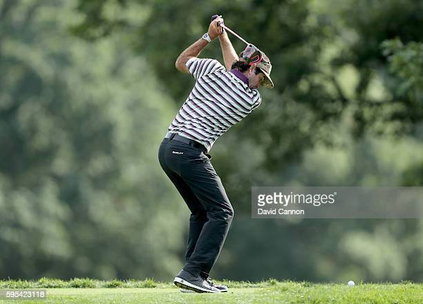 Bubba Watson of the United States plays his tee shot on the fifth hole during the first round of The Barclays in the PGA Tour FedExCup PlayOffs on...