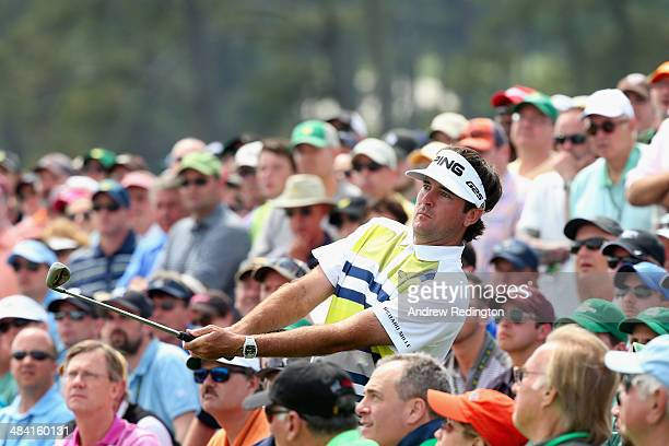 Bubba Watson of the United States plays his third shot on the 18th hole during the second round of the 2014 Masters Tournament at Augusta National...