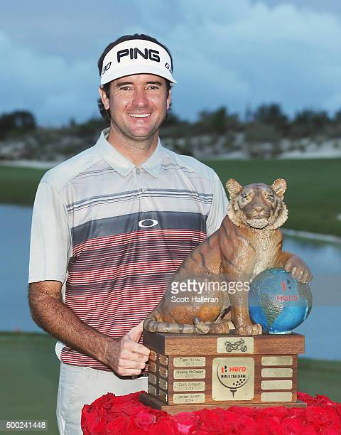 Bubba Watson of the United States poses with the trophy after his threestroke victory at the Hero World Challenge at Albany The Bahamas on December 6...
