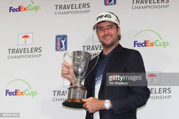 Bubba Watson of the United States poses with the trophy after winning the Travelers Championship at TPC River Highlands on June 24 2018 in Cromwell...