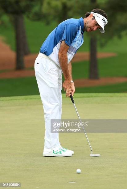 Bubba Watson of the United States putts for birdie on the seventh green during the third round of the 2018 Masters Tournament at Augusta National...