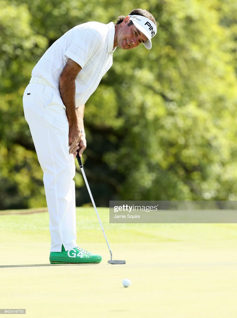 Bubba Watson of the United States putts on the 18th green during the first round of the 2018 Masters Tournament at Augusta National Golf Club on April 5, 2018 in Augusta, Georgia.