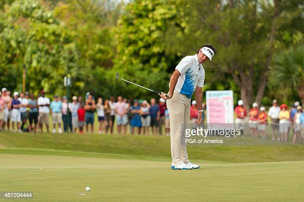 Bubba Watson of the United States putts on the fifth green during the First Round of Play for the 32nd PGA Grand Slam of Golf at Port Royal Golf...