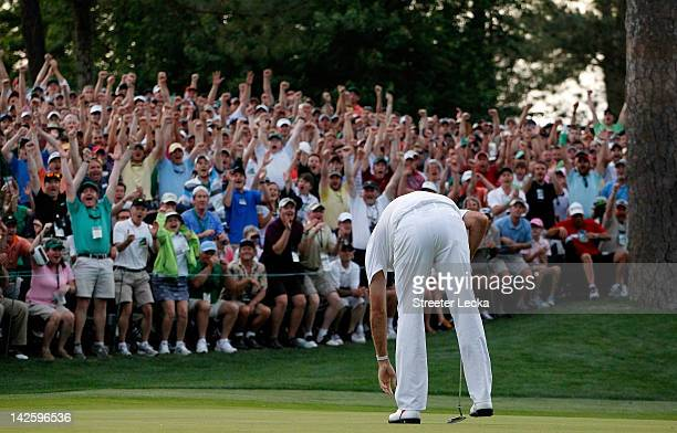 Bubba Watson of the United States reacts after winning his sudden death playoff on the second playoff hole to win the 2012 Masters Tournament by one...