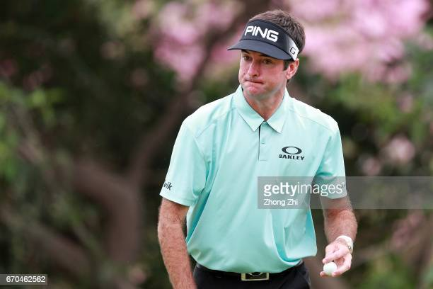 Bubba Watson of the United States reacts during the first round of the Shenzhen International at Genzon Golf Club on April 20 2017 in Shenzhen China