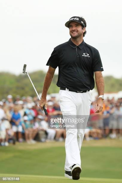 Bubba Watson of the United States reacts on the 13th green during his semifinal round match against Justin Thomas of the United States in the World...