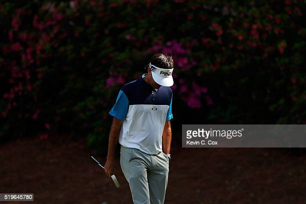 Bubba Watson of the United States reacts on the 13th green during the first round of the 2016 Masters Tournament at Augusta National Golf Club on...