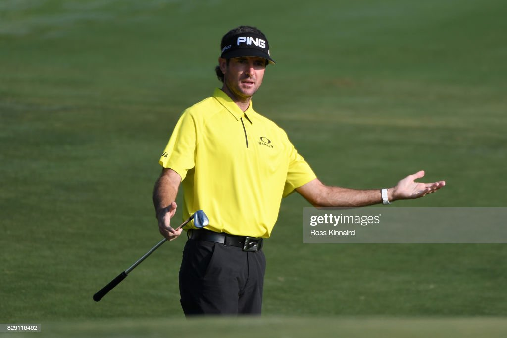 Bubba Watson of the United States reacts to his third shot on the second hole during the first round of the 2017 PGA Championship at Quail Hollow Club on August 10, 2017 in Charlotte, North Carolina.