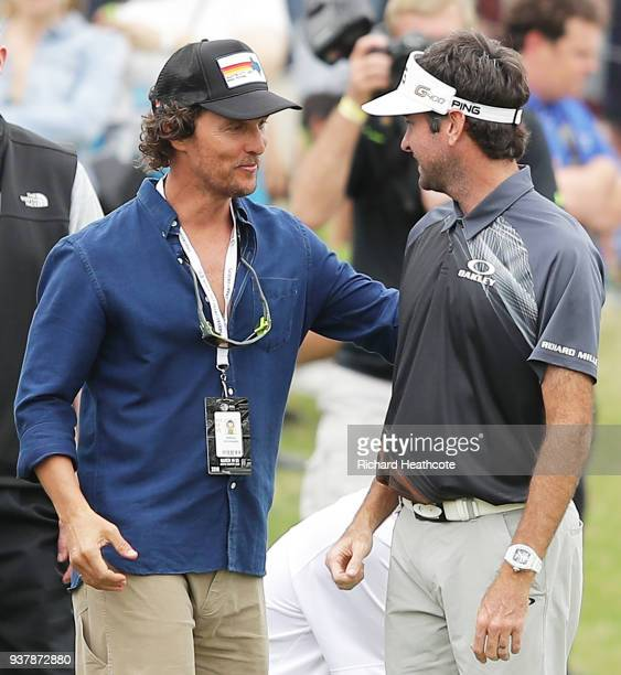Bubba Watson of the United States talks to actor Matthew McConaughey during the final round of the World Golf ChampionshipsDell Match Play at Austin...