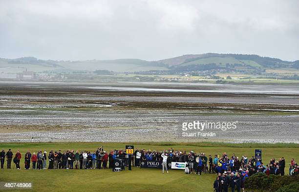 Bubba Watson of the United States tees off while playing a practice round ahead of the 144th Open Championship at The Old Course on July 15 2015 in...