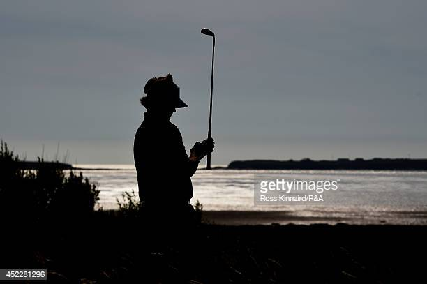 Bubba Watson of the United States waits to play his second shot on the 13th hole during the first round of The 143rd Open Championship at Royal...