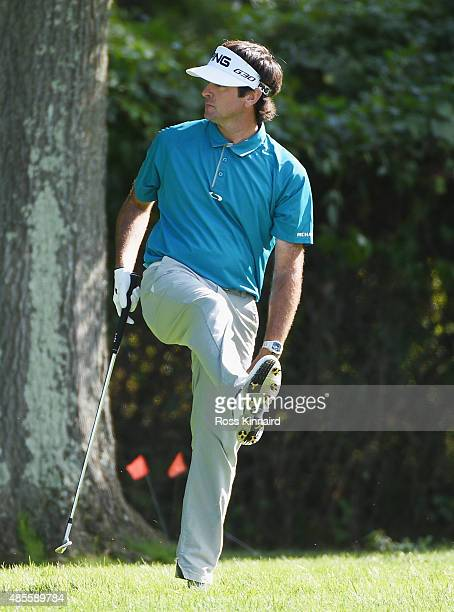 Bubba Watson of the United States watches a shot from the rough on the 13th hole during the second round of The Barclays at Plainfield Country Club...