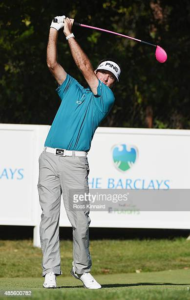 Bubba Watson of the United States watches his tee shot on the 18th hole during the second round of The Barclays at Plainfield Country Club on August...
