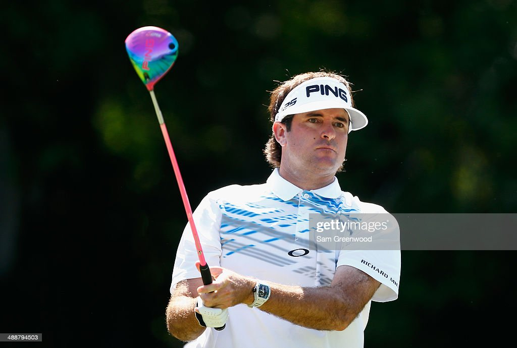 Bubba Watson of the United States watches his tee shot on the seventh hole during the first round of THE PLAYERS Championship on The Stadium Course at TPC Sawgrass on May 8, 2014 in Ponte Vedra Beach, Florida.